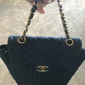 Chanel Navy Denim Backpack